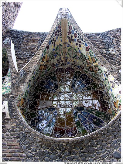 Window of Gaudi's crypt at Colonia Guell