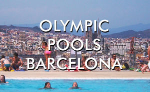 Barcelona Olympic swimming pools on Montjuic hill