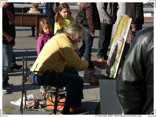 Local artist at Maremagnum art market