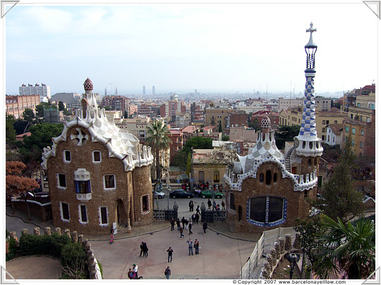 Fairytale Gaudi contructions at entrance of Park Guell