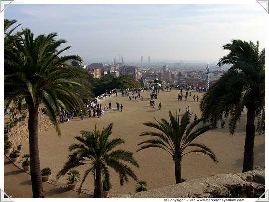 The main plaza of Parc Guell in Barcelona