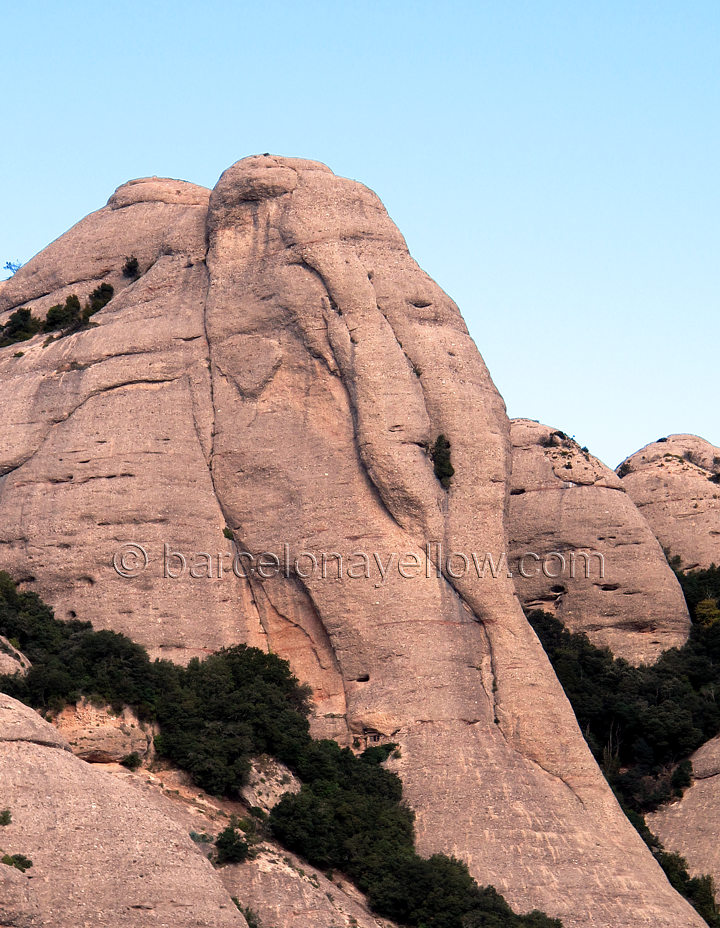 Elephant rock Montserrat mountain. The famous rock shaped as Elephant head at Montserrat