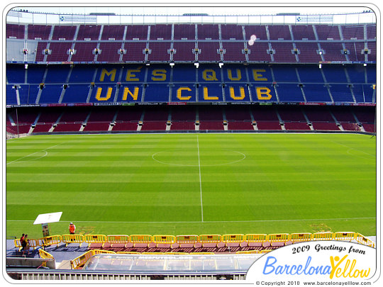 Camp Nou stadium slogan mes que un club